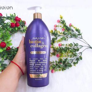 Dầu gội OGX Thick & Full Biotin & Collagen Shampoo – bí mật sau mái tóc mềm mượt, bồng bềnh