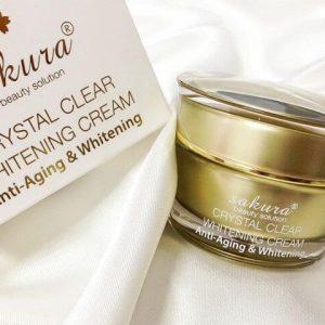 Kem dưỡng trắng Sakura chống lão hóa Crystal Clear Whitening Cream – Anti-Aging & Whitening – Dừng ngay làn da sạm màu kém sắc!