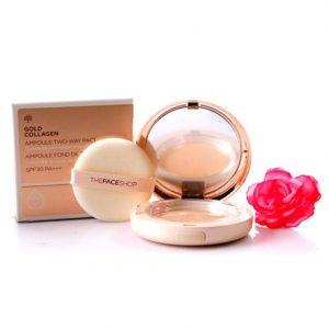 The Face Shop Gold Collagen Ampoule Two-Way Pact SPF30 – Sự đắt đỏ trên từng hạt phấn